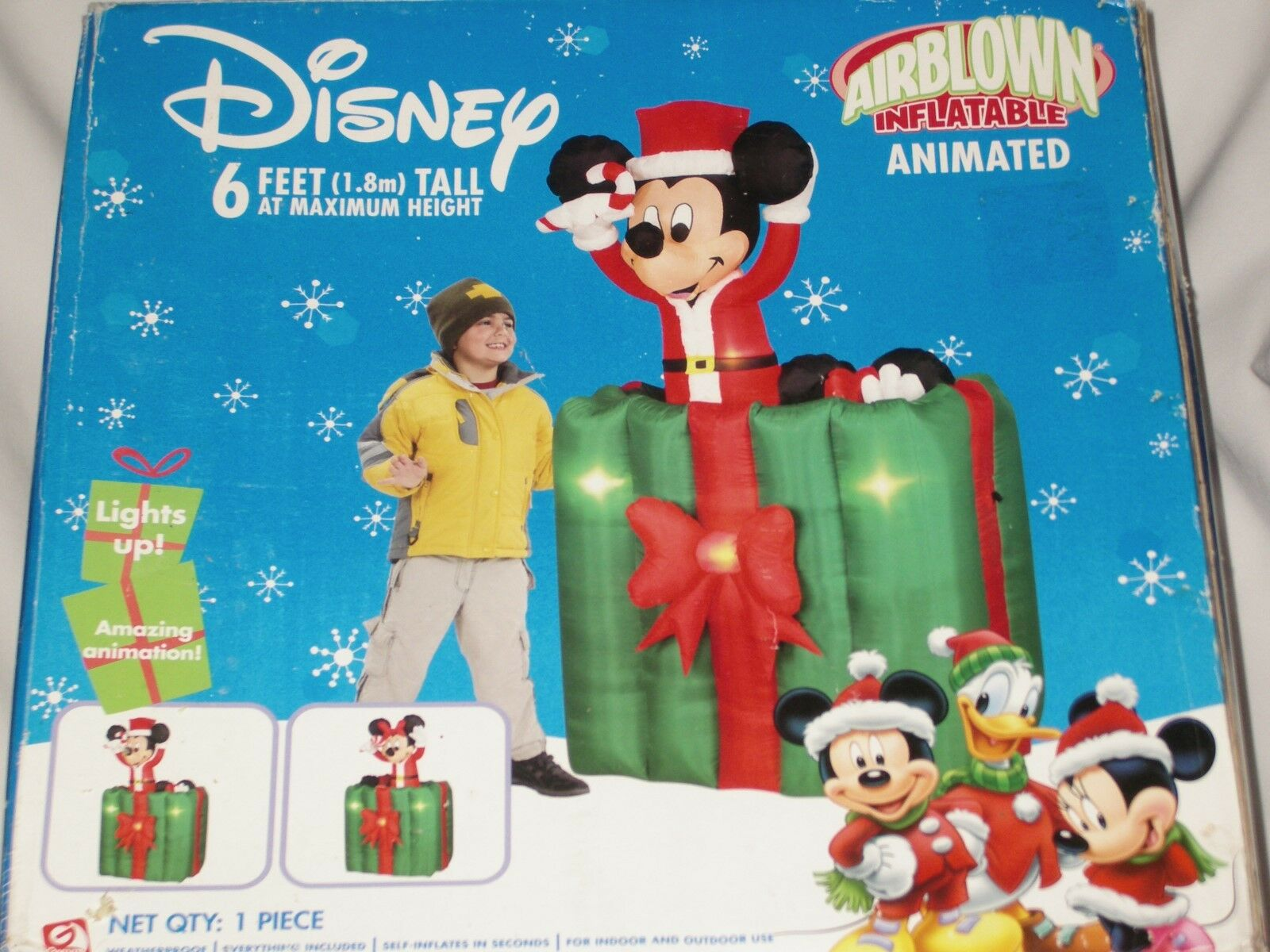 Mickey & Minnie Mouse 6' Animated Lighted Present Christmas Airblown Inflatable