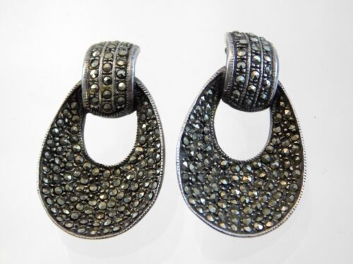 Vintage Sterling Silver Marcasite Encrusted Earrings 925 Door Knocker Style