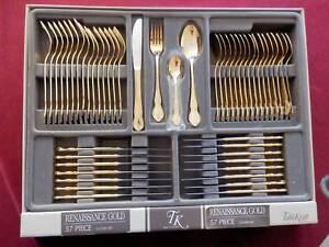 Gold Cutlery Set 57 piece Renaissance gold