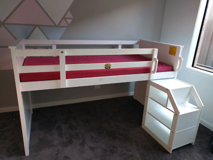 Bunk bed, mattress and step