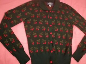 Collectif Clothing Green Wendy Cherry Print Cardigan Bnwt Size 12 RRP £42.50