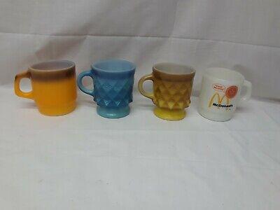 Lot of 4 Vintage Anchor Hocking Fire King Mugs 2 Kimberly & McDonalds & Orange