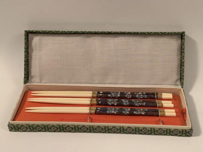 3 Pair Vintage Chopsticks Cloisonne Enamel Flowers Floral Asian GIFT CNY China