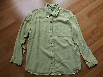 Ladies SO BLUE SIGRID OLSEN XL LARGE Chartreuse Long Sleeve Button Down Shirt