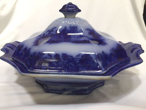 Antique Rare Jacob Furnival FLOW BLUE Covered Bowl, Gothic Pattern, circa 1850