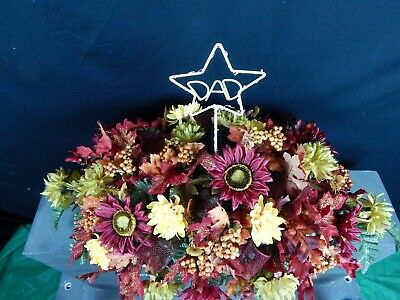 Fall Solar String Light DAD In Star Memorial Cemetery Flower Headstone Saddle - $114.99