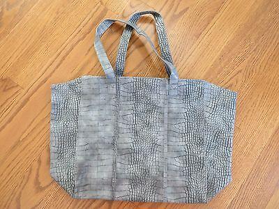 Neiman Marcus Gray Tote Shoulder Bag Faux Crocodile LARGE NWOT