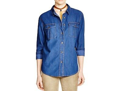 FREE PEOPLE Women's L/S Cotton Denim Blue Jean Shirt Size Medium