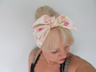 HEAD SCARF HAIR BAND PINK FLOWER PEACH LINED TIE BOW PINEAPPLE  FESTIVAL