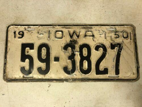 1950 IOWA Lucas County License Plate 59-3827