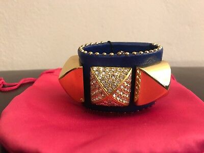 Juicy Couture Pave Pyramid Leather Cuff Bracelet. Blue. MSRP $72 Pave Pyramid Cuff
