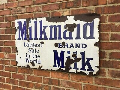 Antique Vintage Retro c1910-20s Milkmaid Milk Large Enamel Advertising Shop Sign