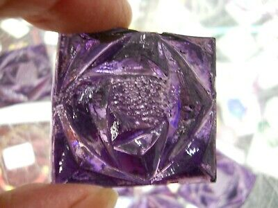 8 PURPLE-VIOLET Stained Glass Square Jewels - Rose Pattern 1.5 Inches - -