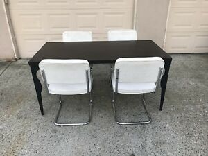 Dark brown kitchen table with off white/polished chrome chairs