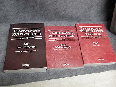 2013 Thomas Reuter Westlaw Pa Rules 3 Books State Federal Volume I Volume Ii Iia