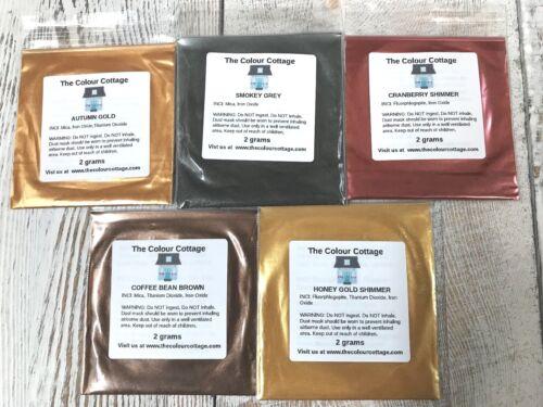 Mica Powder Fall 5 Pack Sample Shimmer for Epoxy Resin Art, Soap, 2g Pks C3