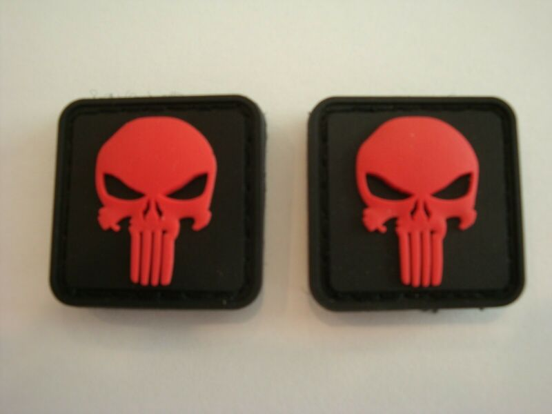 PUNISHER SKULL US ARMY BLACK OPS RED VELCRO® BRAND FASTENER PATCH 3D RUBBER PVC