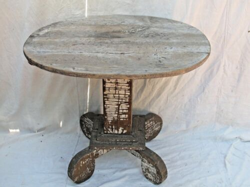 Antique Primitive Oval Table Chippy White Paint on Dry Grey Wood