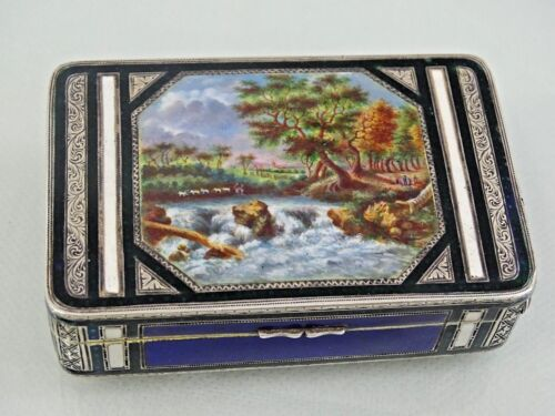 GORGEOUS ANTIQUE SILVER HAND PAINTED ENAMEL SNUFF BOX Swiss or Austrian sterling