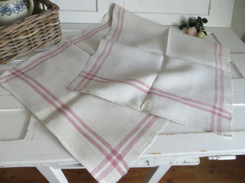 Towel Handwoven Linen Table Runner Red Stripes German  Antique Farmerslinen 49