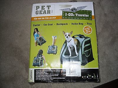 Pet Gear I-GO2 Traveler Rolling Backpack Carrier for Cats and Dogs Sage NIB