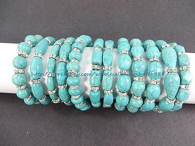 US SELLER -wholesale lot of 10 Turquoise Gemstone Beaded Stretchy Bracelet