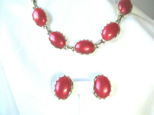 Vtg Red & Gold Choker & Earring Set Mid Century Unmarked Very Good Condition