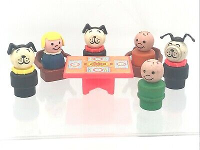 Vintage Fisher Price Little People 1970's Chairs Table Dogs Boy Girl Replacement