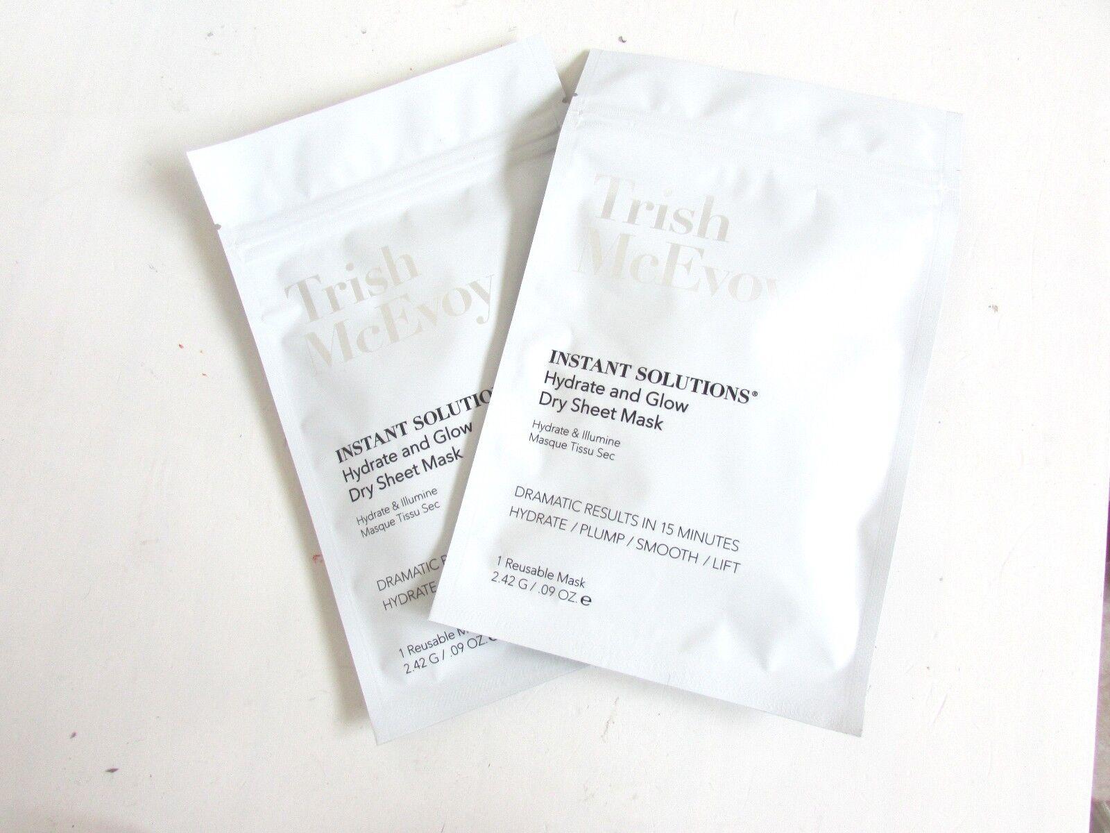 2 X Trish McEvoy Instant Solutions Dry Sheet Mask 2.42g New