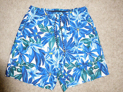 Nautica Mens Blue Hawaiian Print Swim Shorts Trunks With Lining Size M