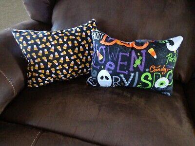Halloween themed homemade pillows (2) - candy corn & Halloween pattern