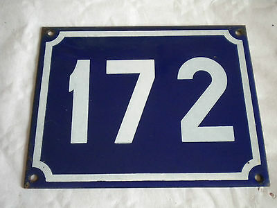 Vintage Original French Enamel House Number Large Blue/white No 172 18 x 14cms