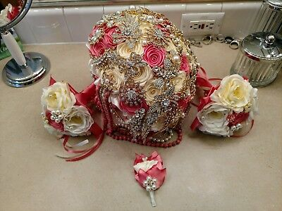 brooch bouquet wedding set coral and gold