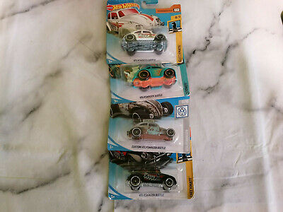 Hot Wheels - 4 x Volkswagen VW Beetle Mainline Cars On Card - LOT HW140
