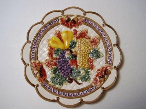 """Fitz & Floyd Omnibus 1995 Harvest Fruit Weave Acorn Leaves Scalloped Plate 9.5"""""""