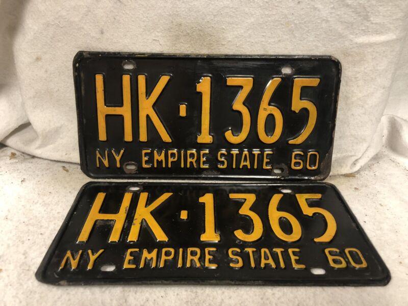 Vintage 1960 New York License Plate Pair