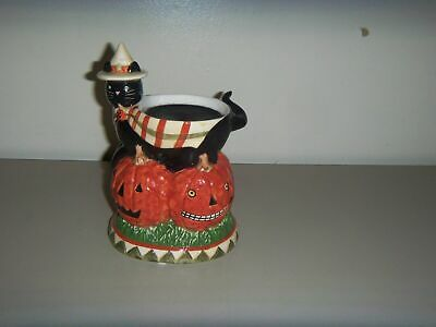 YANKEE CANDLE HALLOWEEN PUMPKIN SPOOKY BLACK CAT TART BURNER WARMER TERESA KOGUT