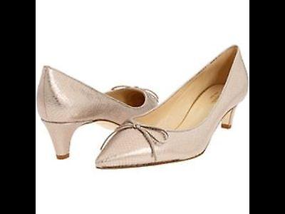 New kate spade sienna platinum metallic low heel leather pump 6B
