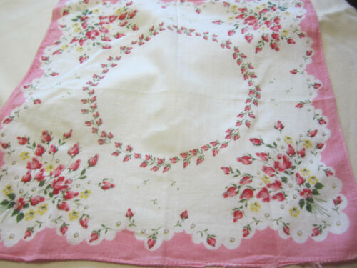 Vtg White Handkerchief withPink Roses. . Pink  Edge
