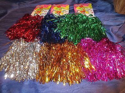 2er Set PomPons Pom Pom Cheerleader für Kostüm Fasching Karneval 6 versch Farben ()