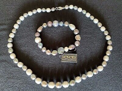 Honora Pearls Set - Necklace and Stretch Bracelet, Gift Boxes, BNWT
