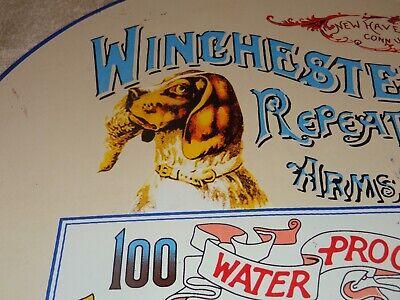 "VINTAGE ""WINCHESTER REPEATING ARMS DOG"" 11 3/4"" PORCELAIN METAL SHOT SHELLS SIGN"