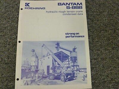 Koehring Bantam S-888 Hydraulic Crane Specifications Lifting Capacities Manual