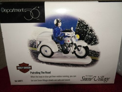 Dept 56 Harley Davidson Patrolling the Road Snow Village VGUC