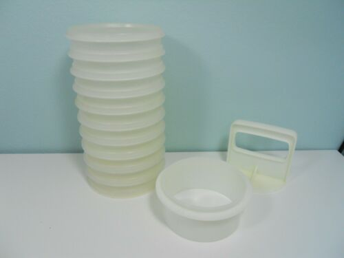 "10 Tupperware 4"" Hamburger Patty Keepers Containers #882 with Press & Ring Seal"