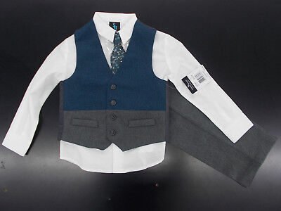 Boys Young Kings By Steve Harvey 4Pc Dark Teal   Gray Vest Suit Size 4   7