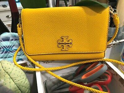 TORY BURCH Taylor Braided Strap Crossbody Bag or Clutch Pebbled Leather $328 New