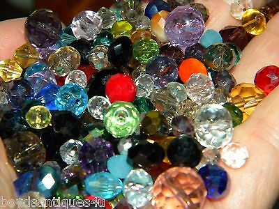 NEW 300 Czech Faceted GLASS beads lot 6-10mm mixed random pick colors (R300)
