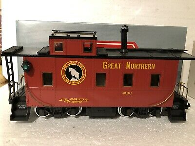 G Scale Train Cars (2) REA Great Northern Caboose Metal Wheels,Log Car 01503 HLW