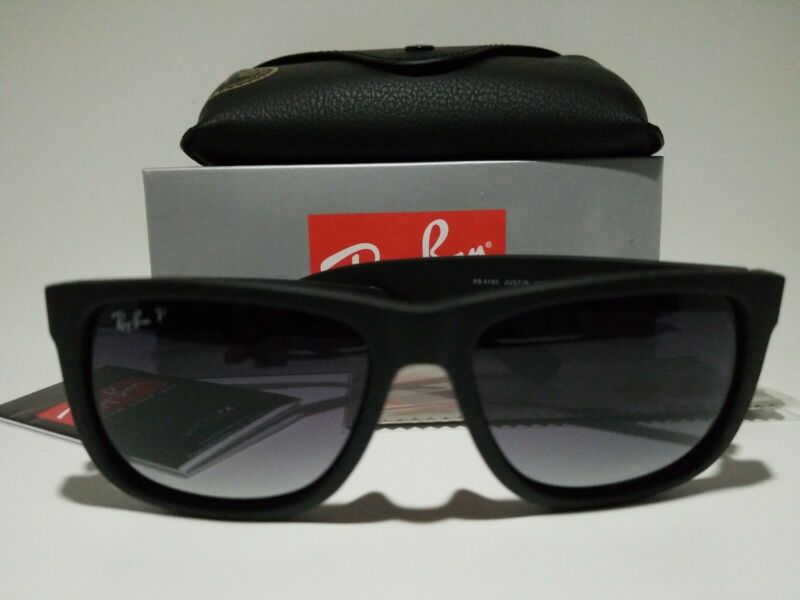 New Ray-Ban Justin POLARiZED RB4165 622/T3 Black/Grey Gradient 54 145